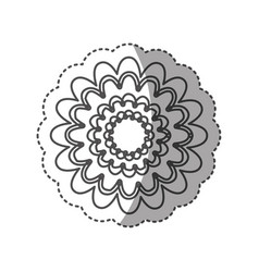sticker monochrome contour with flower figure vector image