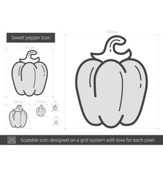 Sweet pepper line icon vector image vector image
