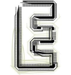 Technological font letter e vector