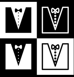 Tuxedo with bow silhouette black and vector