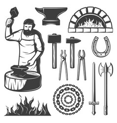 Vintage blacksmith elements set vector