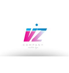 vz v z alphabet letter combination pink blue bold vector image