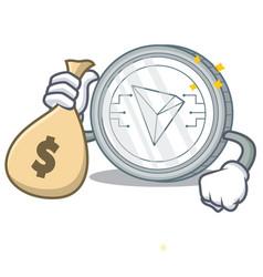 With money bag tron coin character cartoon vector