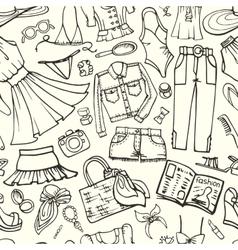 Summer fashion seamless patternwoman outline wear vector