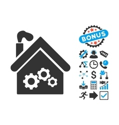 Plant building flat icon with bonus vector