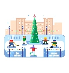 Municipal skating rink christmas tree vector