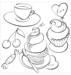 Cup and cakes vector