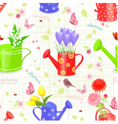 Seamless texture with fresh bouquets of flowers vector