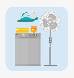 Dishwasher stainless kitchen appliance house vector