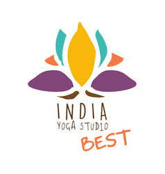 india yoga studio best logo colorful hand drawn vector image