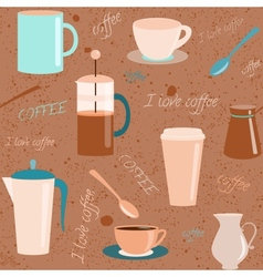 Seamless pattern with coffee related elements vector
