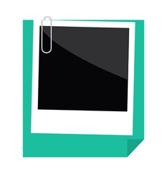 Instant photo paperclip and green paper folded vector image