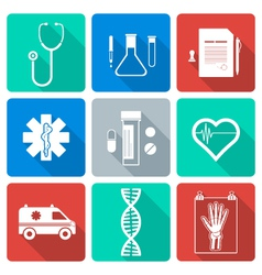 Flat style white silhouette medical icons set vector