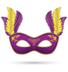 Purple mask with feathers vector