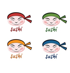 Set of faces sushi chef vector