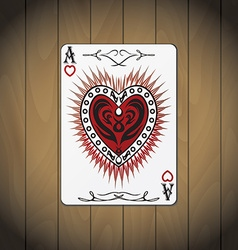 Ace hearts poker card wood background vector