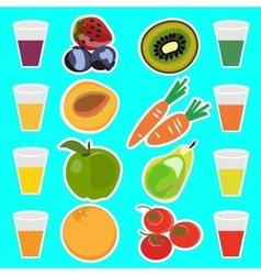 Useful delicious fresh fruit juices vector