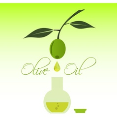 Green natural olive oil production drip to bottle vector