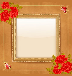 Vintage background with a gold frame and vector image