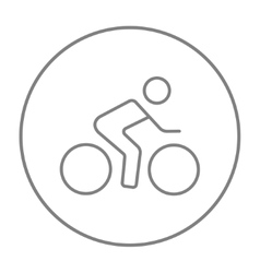 Man riding a bike line icon vector
