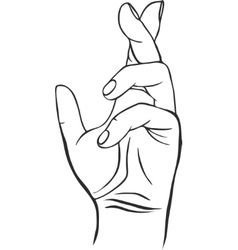 Line drawing human hand vector