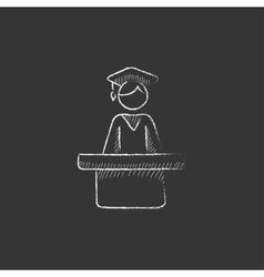 Graduate standing near tribune Drawn in chalk vector image