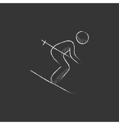 Downhill skiing drawn in chalk icon vector