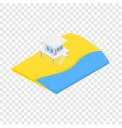 Beach with lifeguard tower isometric icon vector