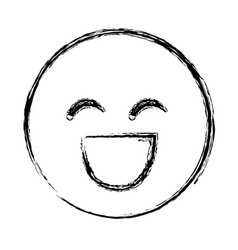 Blurred silhouette emoticon face smile expression vector