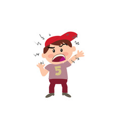Cartoon character of a angry white boy with red ca vector