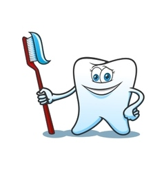 Cartoon tooth with brush and toothpaste vector image