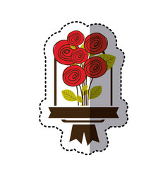 Color decorative emblem with rounds roses icon vector