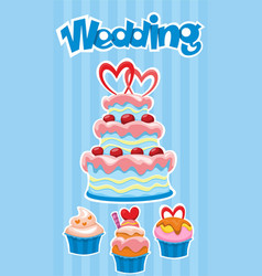 Colorful wedding desserts poster vector