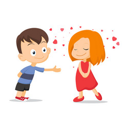 couple of kids falling in love vector image