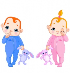 cute babies going to sleep vector image