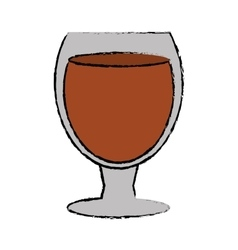 Drawing glass cocktail drink design style vector