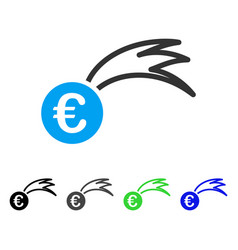 Euro falling meteor flat icon vector