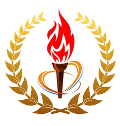 Flaming torch in laurel wreath vector