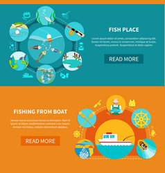 floater fishing banners set vector image vector image
