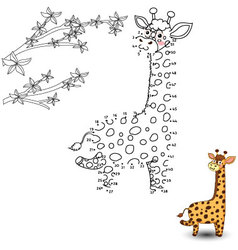 Giraffe connect the dots and color vector
