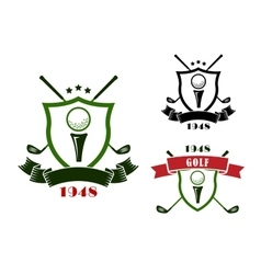 Golf emblems with shields balls and clubs vector