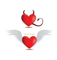 Good and evil hearts vector image vector image