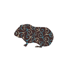 Guinea pig pet rodent color silhouette animal vector