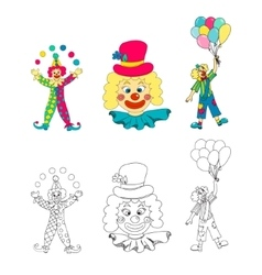 Hand drawn clown collection vector image