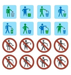 Litter icons set vector
