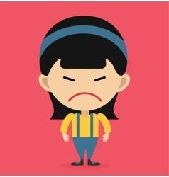 Little cartoon angry girl vector