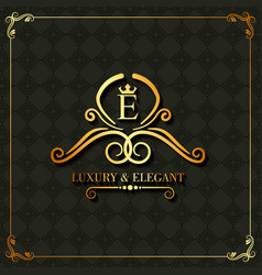 Luxury and elegant monogram swirl floral template vector