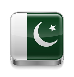 Metal icon of Pakistan vector image vector image