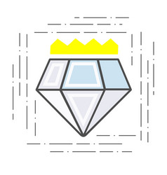Modern flat line icon diamond with a crown badge vector