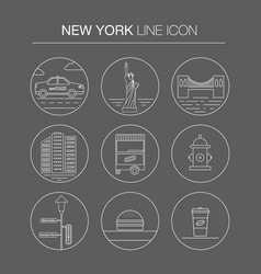 new york thin line icon set vector image